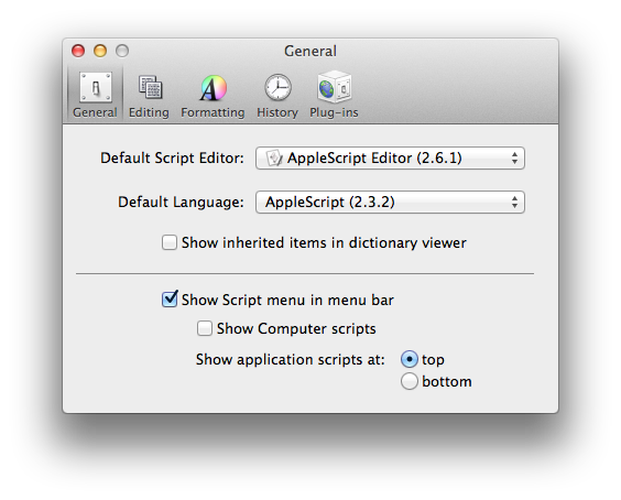 Applescript Preferences Screenshot