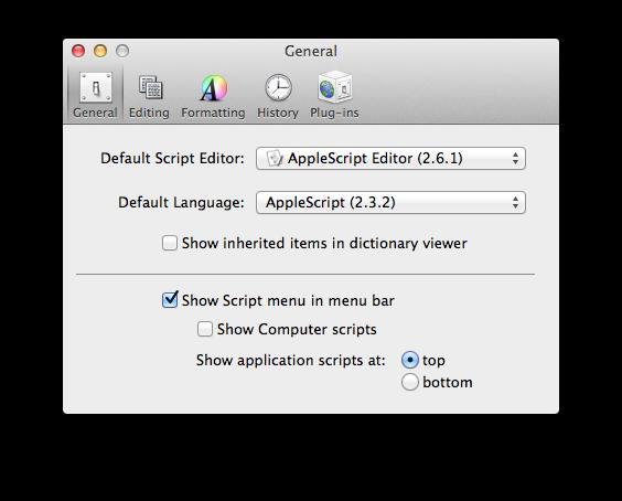 Applescript Preferences Screenshot